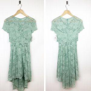 B. Darlin sage lace sweetheart high low dress